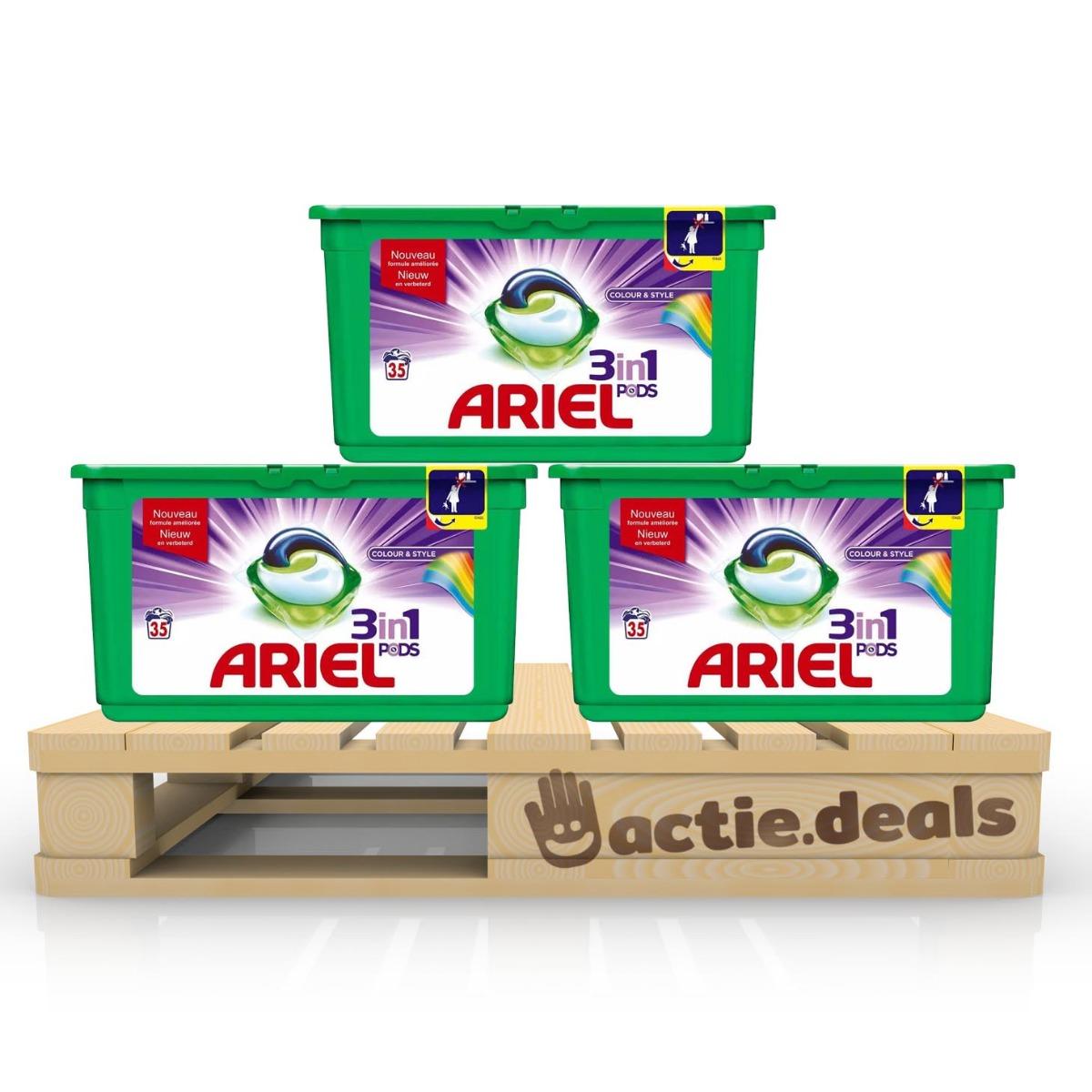 Dagaanbieding - Ariel 3-in-1 Pods Colour en Style - kwartaalbox 105 wasbeurten dagelijkse koopjes