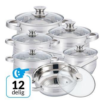 Herzberg 12-delige pannenset HG-1241 incl. glazen deksels