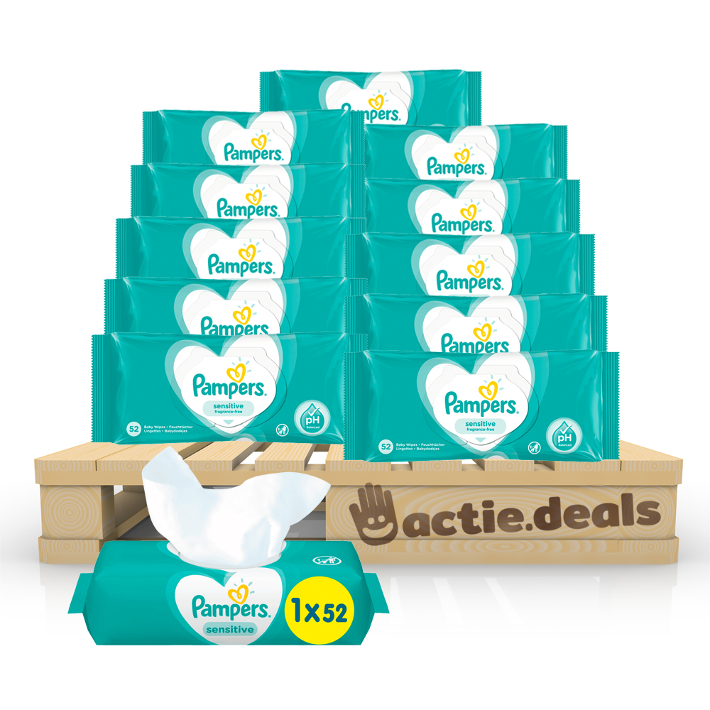 Voordeelpakket Pampers Baby Wipes Sensitive (12x 52 stuks) - XXL pakket